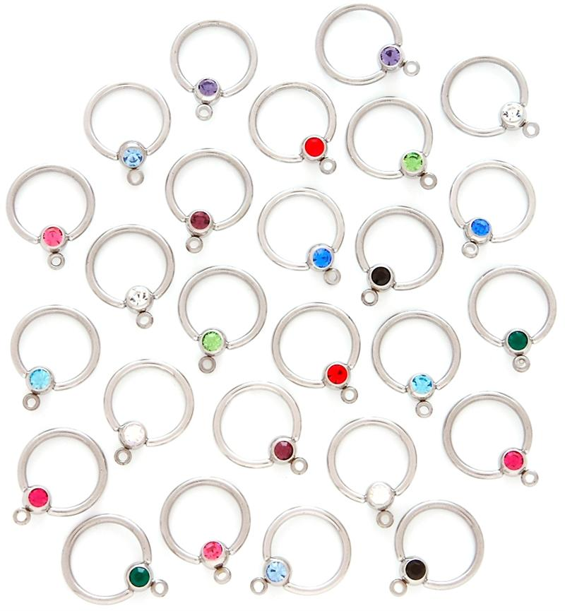 Package of 13 Captive Ring 14G with Glow in the Dark Acrylic Beads