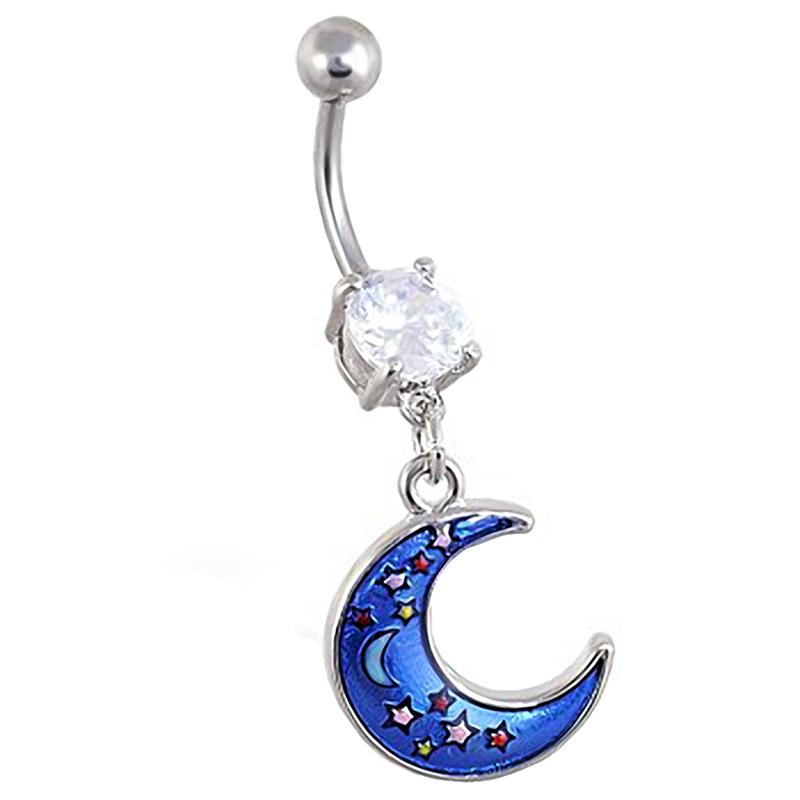14g dangle moon navel piercing gem paved belly jewelry Crescent moon belly ring