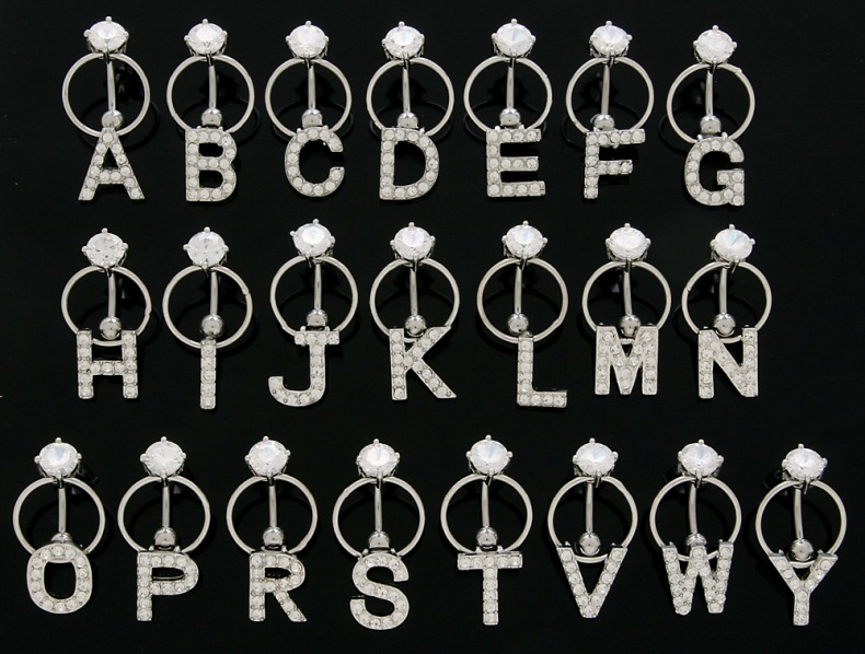 Clear Rhinestone Paved Block Letter Initial Reverse Top Down Door