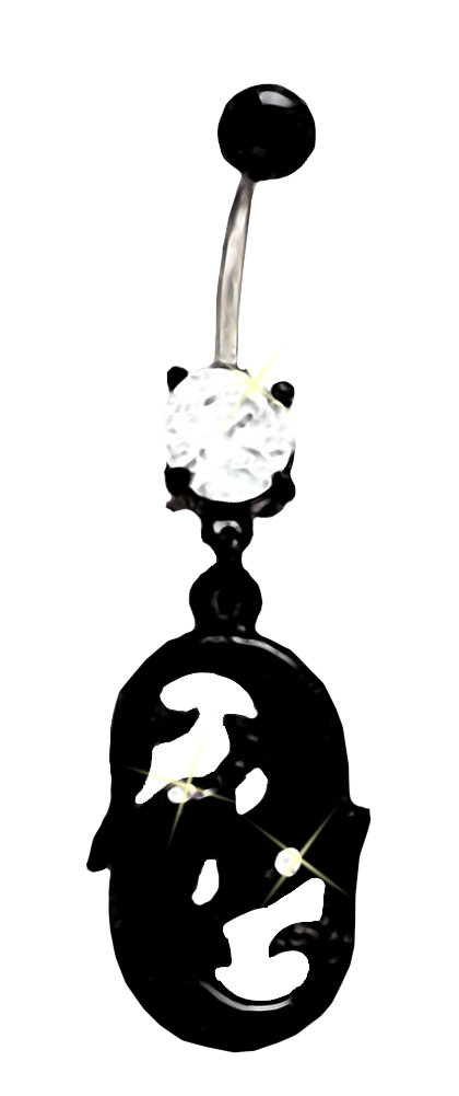 Belly Button Ring Navel Split Cat Head Tail 316L surgical steel Body Jewelry 14g