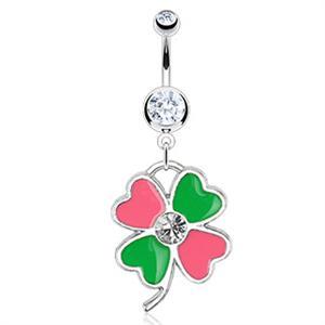 46c87293d Pink and Green Enamel Lucky Four Leaf Clover Shamrock Dangle ...