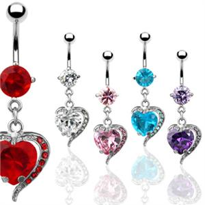 """Heart Shape Paved CZ 316L Surgical Steel Navel Belly Button Ring 14g 3//8/"""""""