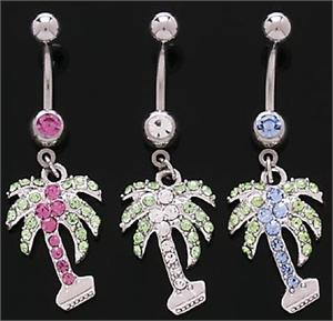 Two Color Palm Tree Dangle Belly Button Navel Ring