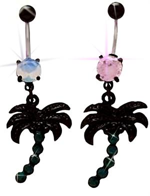 Blackline Palm Tree Dangle Belly Button Navel Ring With Matching