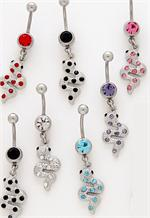 and Blue Accent Stones Hinged Reverse Dangle Belly Button Navel Ring tngbodyjewelry.com USA Drop Down Letters with Red White Clear
