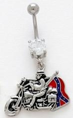 Biker on Motorcycle Bike Waiving Southern Confederate Army Rebel Flag  14g Steel Post Dangle Belly Button Navel Ring