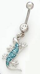 Blue Glitter Sparkle Enamel Lizard Iguana Gecko Dangle Belly Button